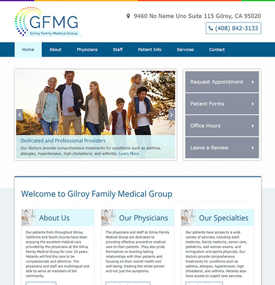 Gilroy Family Medical Group website homepage