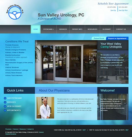 Sun Valley Urology website homepage