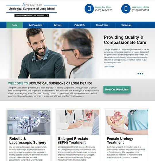 Urological Surgeons of Long Island website homepage