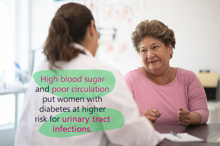 A women sits at a desk talking with her docter. High blood sugar and poor circulation put women at higher risk for urinary tract infections.